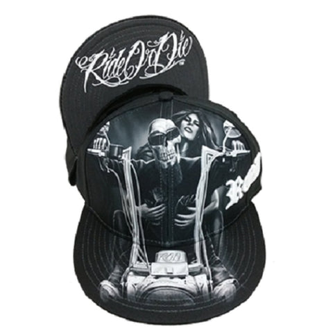 DGA Day of the Dead Ride or Die Motorcycle Art Sublimation Men's Snapback Cap/Hat - My Old Lady