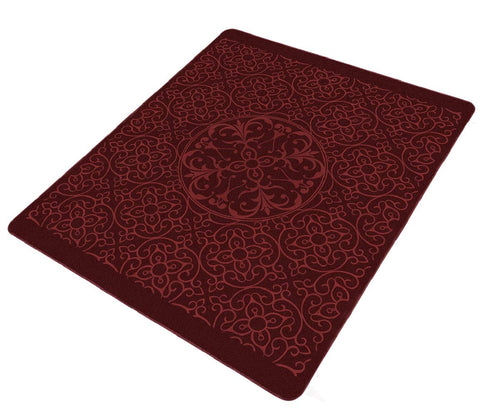 Solaron Collection Contemporary Embossed Quatrefoil Pattern Design Area Rug Burgundy 6' x 8'