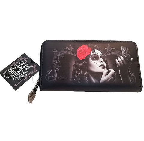 DGA Angels Day of the Dead Rockabilly Bonita Women's Clutch Zippered Wallet