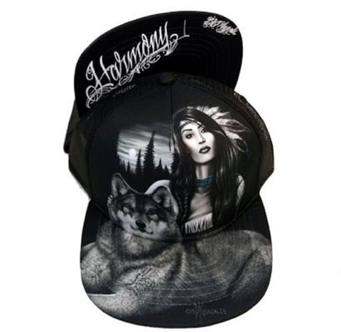 DGA Day of the Dead Rockabilly Art Sublimation Ladies Snapback Cap/Hat - Harmony Wolf