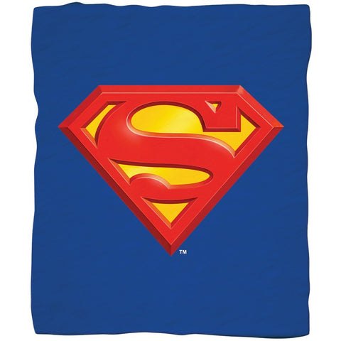 "Superman Emblem Luxury Fleece Throw Blanket with Sewn edge Super Soft 50"" x 60"" 100% Polyester Fiber"