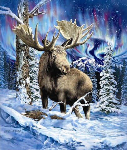 New Signature Collection Queen Size 'Alaska Moose' Royal Plush Blanket