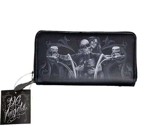 DGA My Old Lady Wallet Zip Around Biker Skeleton Wallet Black