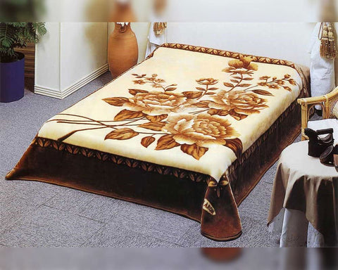 Solaron BM107 King Size Blanket Brown Roses