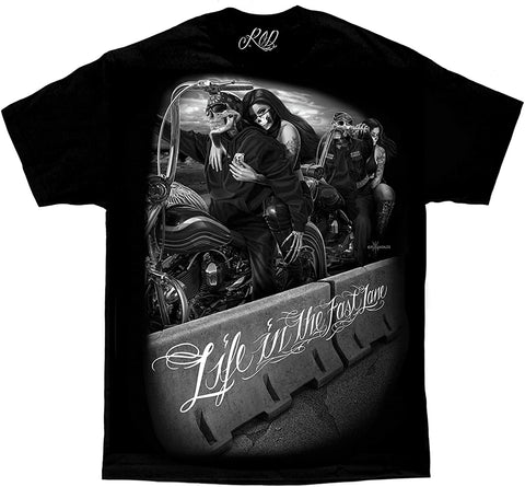 Ride of Die Life in the Fast Lane Motorcycle Day of the Dead David Gonzales DGA T Shirt
