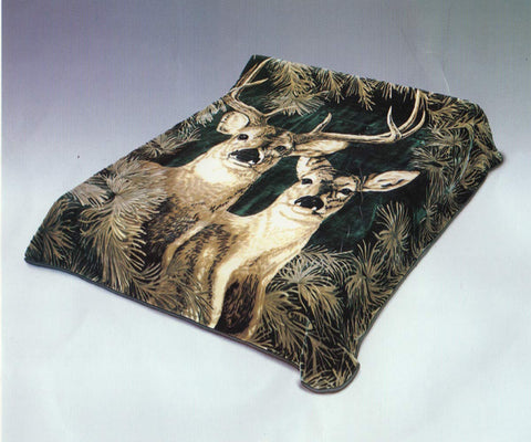 Solaron Heavy Thick Korean Blanket Green Deer Design King Size