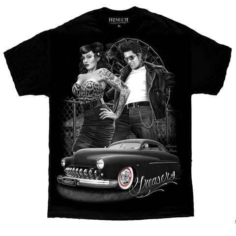 Greasers Pinup Rockabilly Tattoo Lowrider Hot Rod David Gonzales Art DGA T Shirt