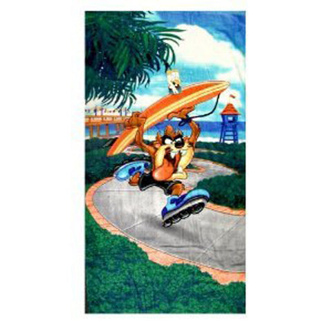 Blue Tazmanian Devil Surfer Beach and Bath Towel