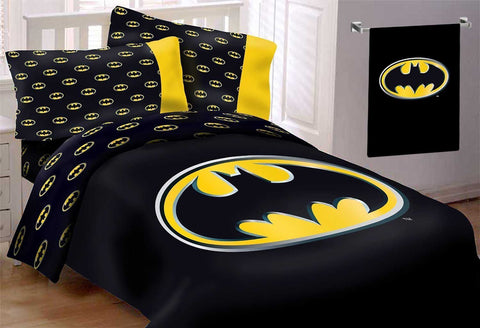 Batman Emblem 6 Piece Reversible Super Soft Luxury Full Size Comforter Set with Batman Beach Towel