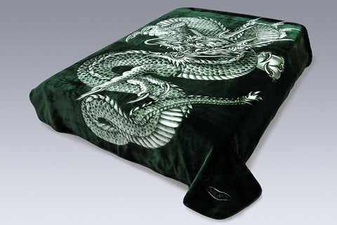 Solaron Original Dragon Thick Mink Plush Korean Style Super Soft Queen Size Blanket - Green