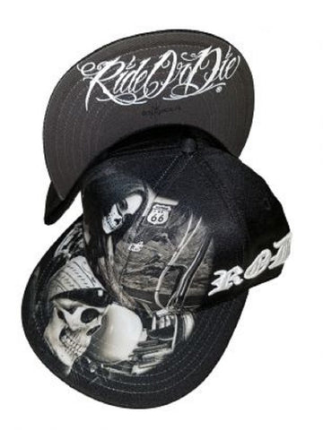 DGA Day of the Dead Ride or Die Motorcycle Art Sublimation Men's Snapback Hat - Highway To Hell