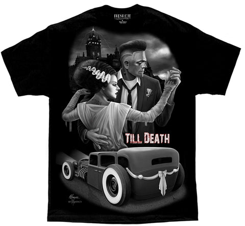 Till Death Rockabilly Hot Rod Lowrider Pinup Tattoo David Gonzales DGA T Shirt