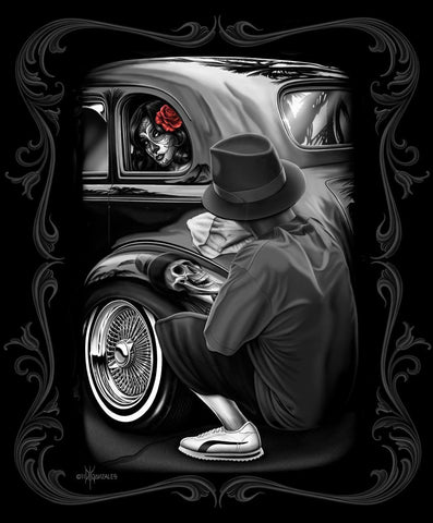 DGA Day of the Dead Lowrider Classic Skull Reflections Tin Metal Sign 12x16 Inches