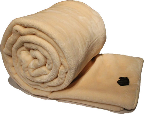 Solaron Solid Beige Queen Korean Mink Blanket