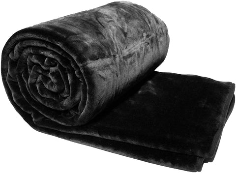 Solaron Queen Solid Black Korean Mink Blanket