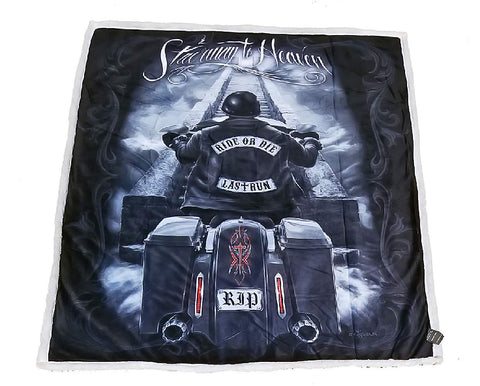 DGA Ride or Die Day of The Dead Motorcycle High Definition Soft Plush Micro Sherpa Throw Blanket Stairway to Heaven