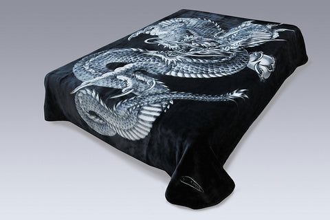 Solaron Original Dragon Thick Mink Plush Korean Style Super Soft Queen Size Blanket - Black