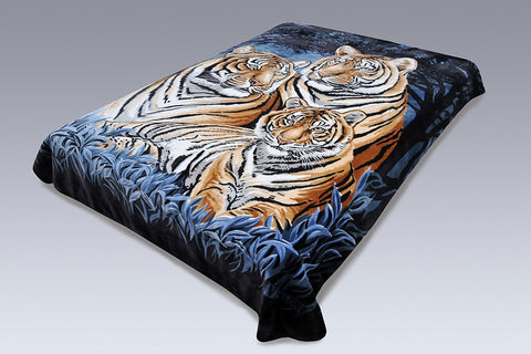 Solaron Original Bengal Tigers Thick Mink Korean Super Soft Plush King Size Blanket - Blue