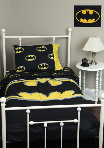 Batman Logo Queen 3pc Comforter Set Standard