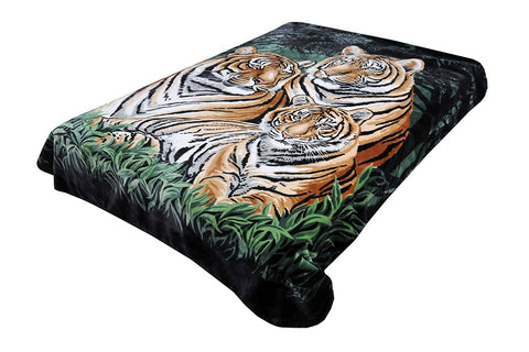 Solaron Original Bengal Tigers Thick Mink Plush Korean Style Super Soft Queen Size Blanket - Green