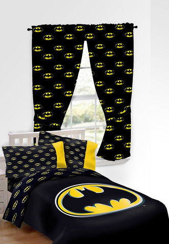 Batman Emblem 9 Piece Reversible Super Soft Luxury Full Size Comforter Set and Two Window Panel Curtain with 2 Tiebacks