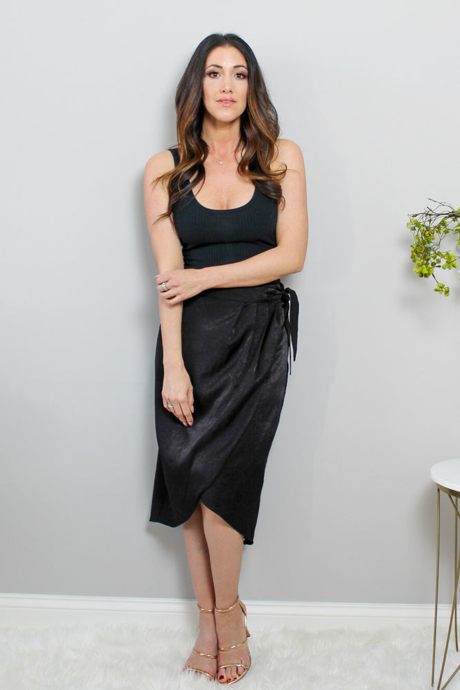 Black Satin Wrap Skirt Glow Fashion Boutique