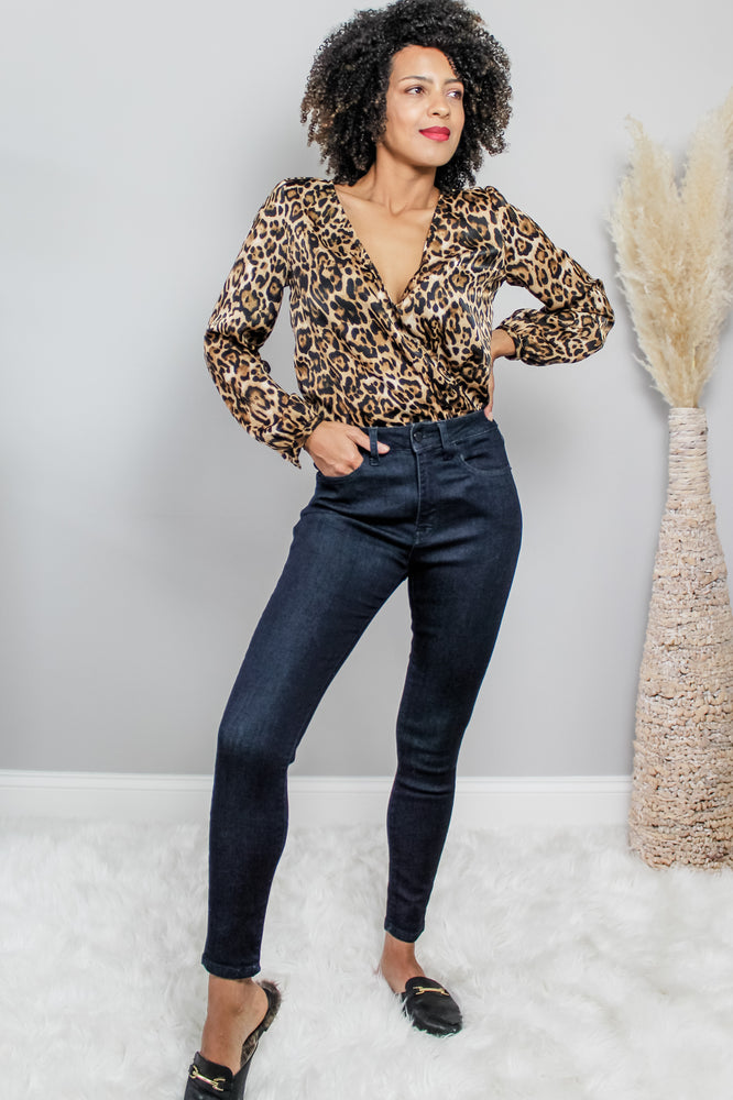 Load image into Gallery viewer, Glow fashion leopard print Long Sleeve blouse Bodysuit