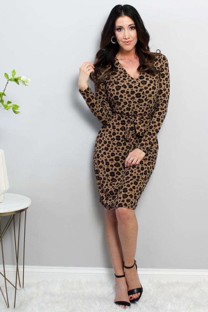 Load image into Gallery viewer, Leopard Wrap Dress Glow Fashion Boutique