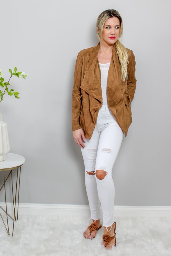 Glow Fashion Boutique Cognac Faux Suede Jacket