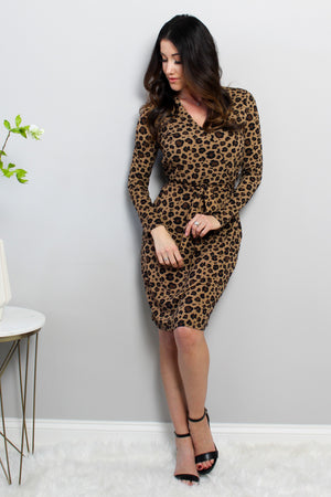Load image into Gallery viewer, Leopard Wrap Long Sleeve Dress Glow Fashion Boutique