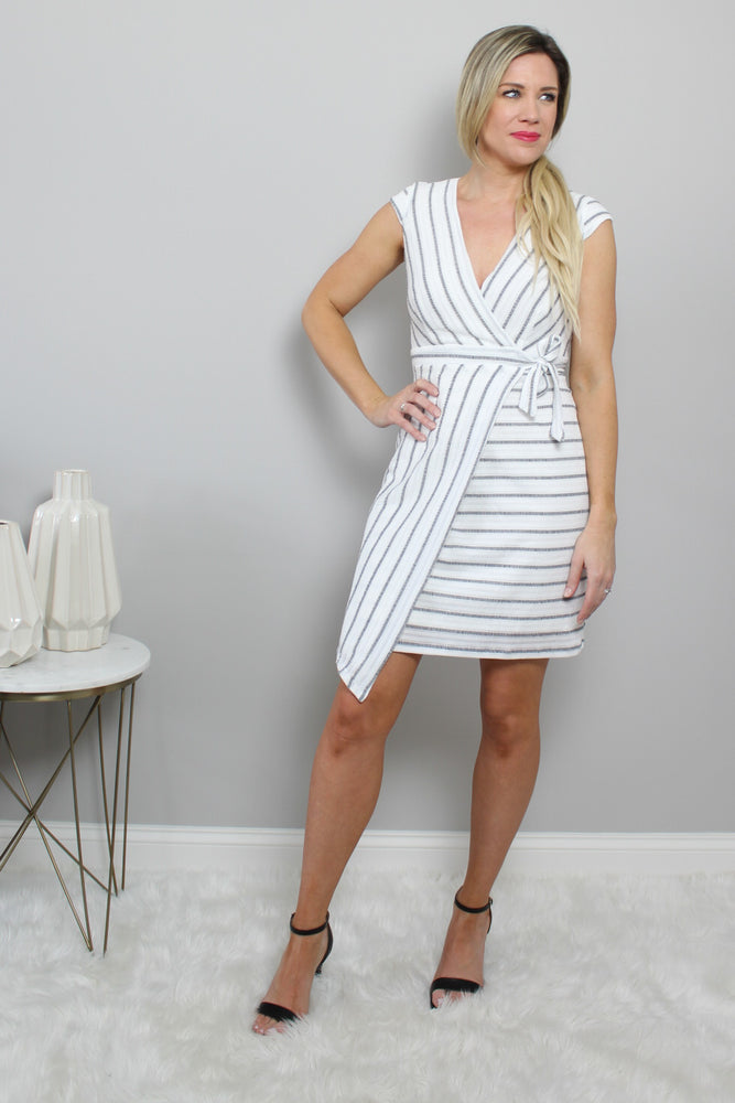 Black And White Short Wrap Dress Glow Fashion Boutique