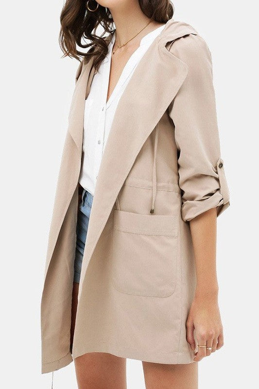 Open Front Trench Coat | Glow Fashion Boutique