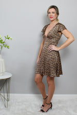 Satin Plunging V Leopard Dress Glow Fashion Boutique