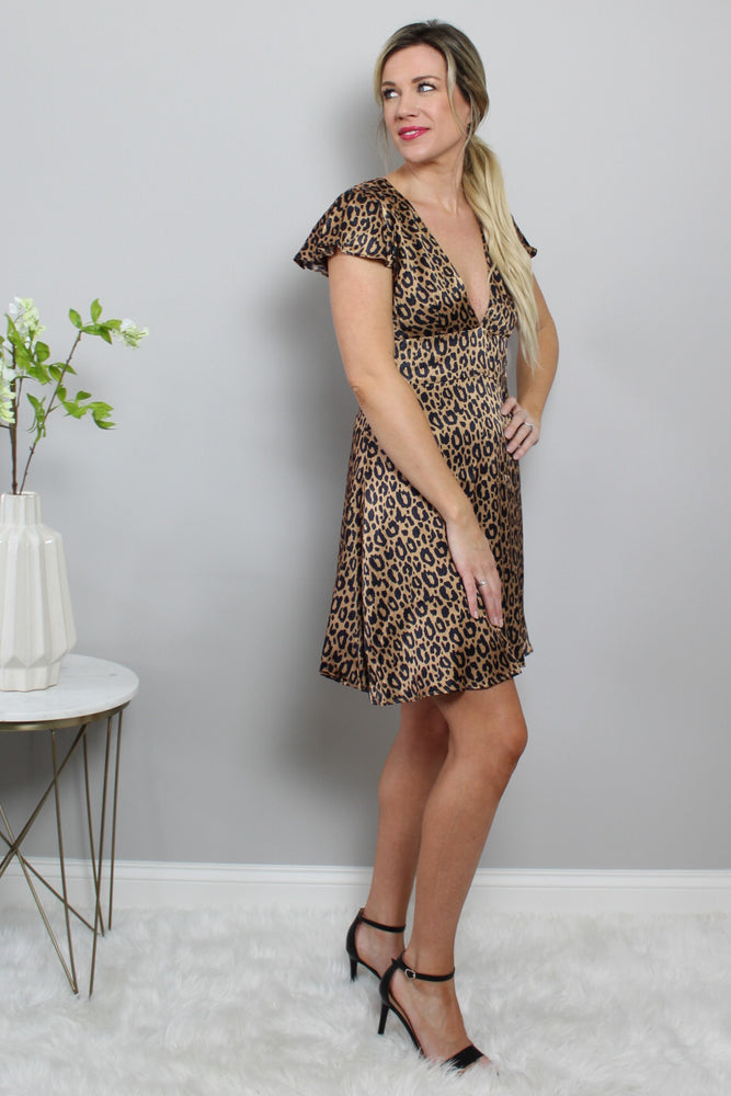 Satin animal Print Dress Glow Fashion Boutique