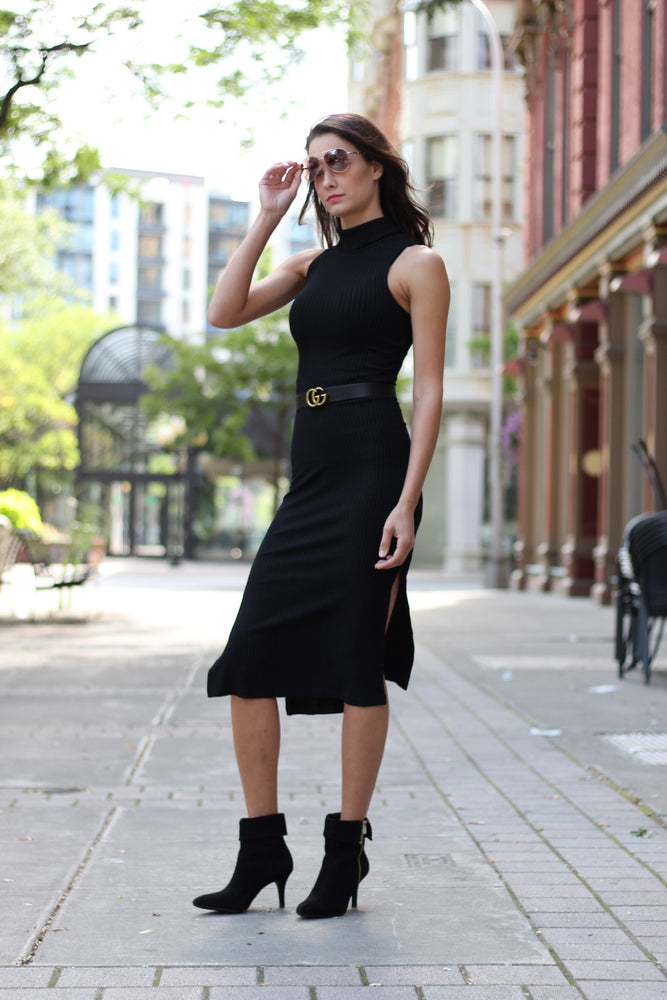 Black David Lerner Sleeveless Turtleneck Dress
