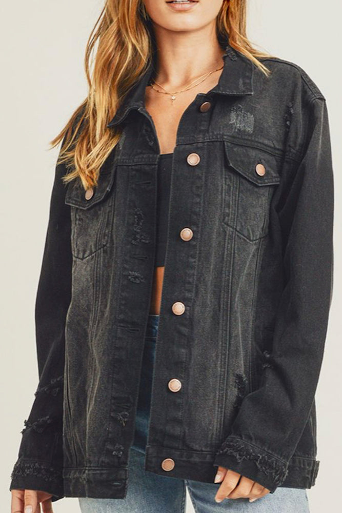 Glow Fashion Boutique Relaxed Fit Black Denim Jacket
