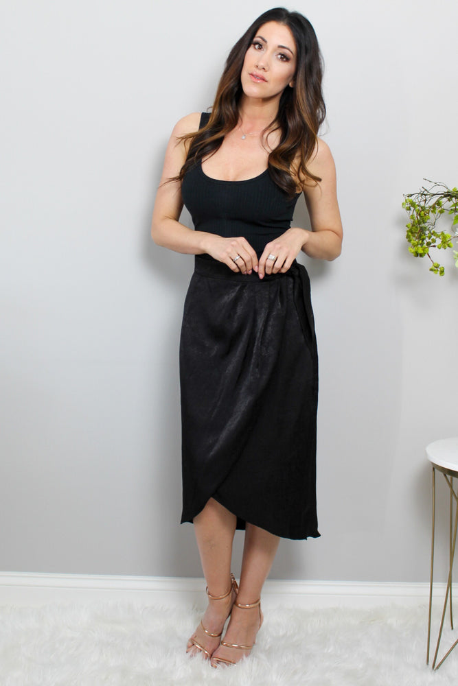 Load image into Gallery viewer, Black Satin Wrap Skirt Glow Fashion Boutique