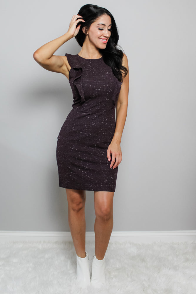 Eggplant Flutter Dress Glow Fashion Boutique
