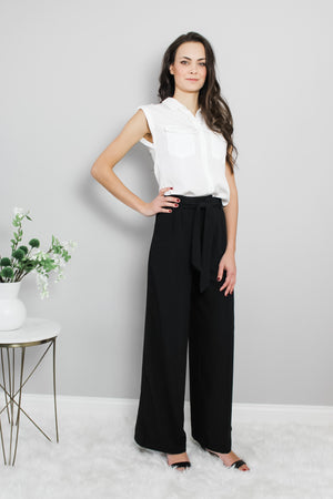 Classic Wide Leg Black Work Pants Glow Fashion Boutique