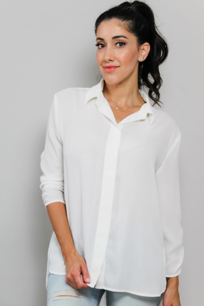 White Sheer Long Sleeve Blouse Glow Fashion Boutique