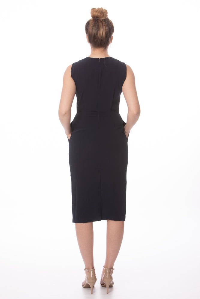 Professional Work Navy Fitted Pencil Dress Glow Fashion Boutique