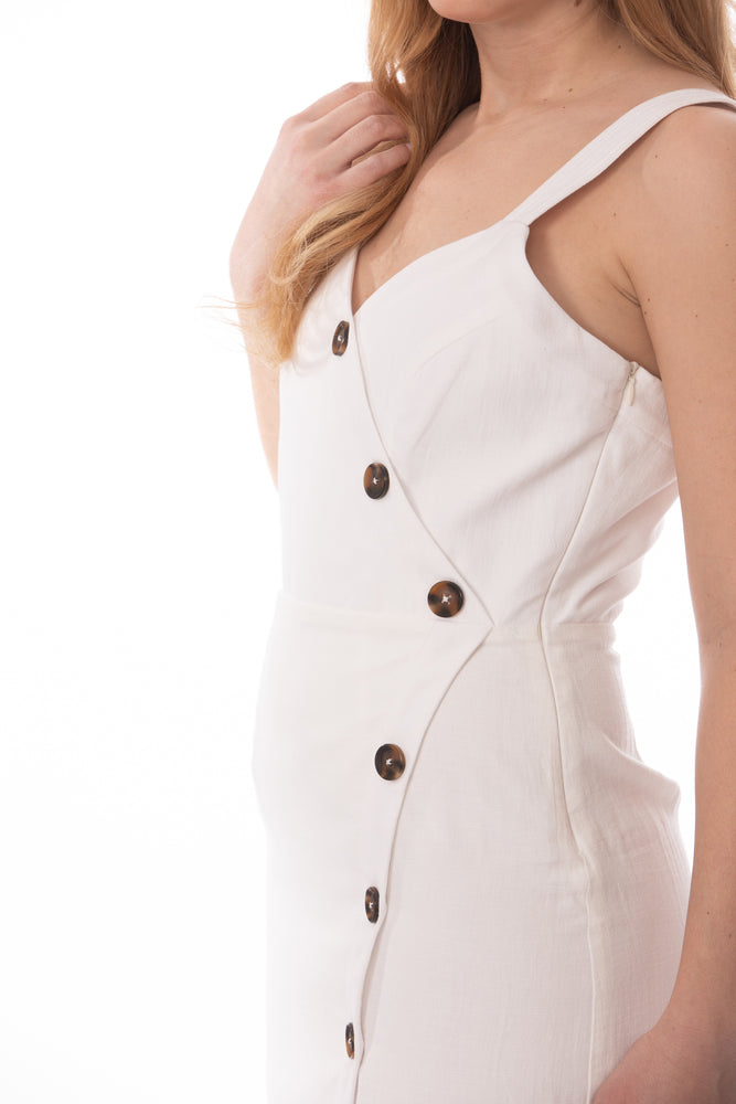 White sleeveless dress with buttons Glow Fashion Boutique