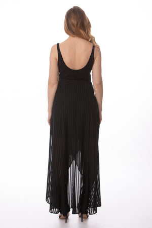 Load image into Gallery viewer, Black Sheer Sleeveless Maxi Wrap Dress Glow Fashion Boutique