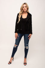 Rebecca's Perfect Faux Suede Jacket Black - Glow Fashion Boutique