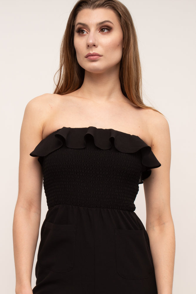 Load image into Gallery viewer, Off The Shoulder Flattering Black Jumpsuit Glow Fashion Boutique