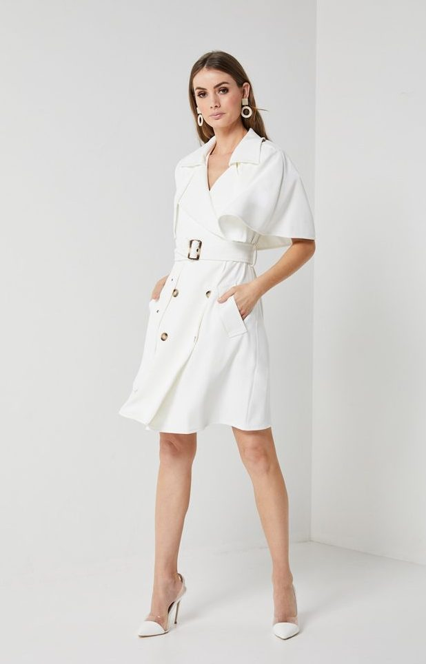 Elliatt White Cape Trench Dress Glow Fashion Boutique