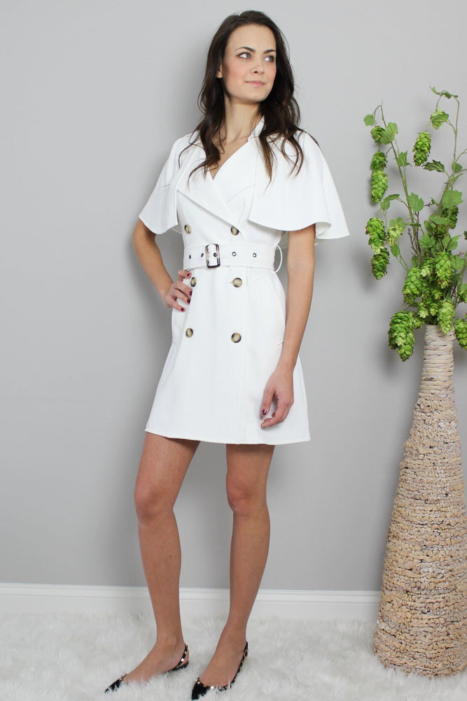 Load image into Gallery viewer, Glow Fashion Boutique white Belted trench dress