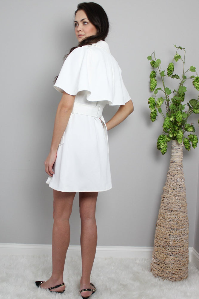 Load image into Gallery viewer, Glow Fashion Boutique white Cape Dress