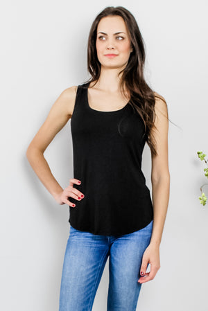 Load image into Gallery viewer, Basic Black Soft Jersey Tank Glow Fashion Boutique