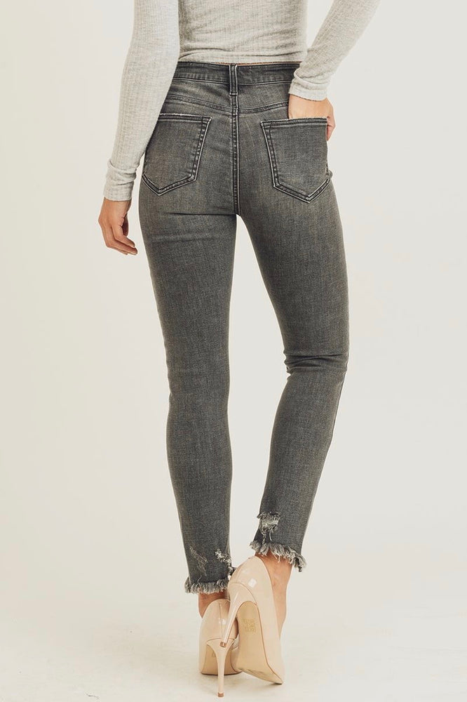 Load image into Gallery viewer, Glow Fashion Boutique Dark Grey Frayed Skinny Jeans